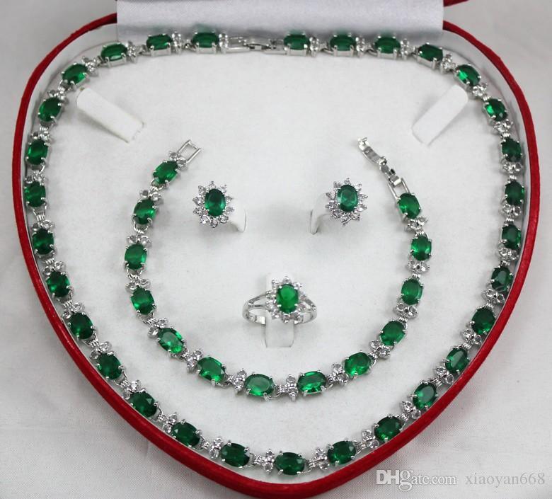 Presente das mulheres palavra atacado gargantilha conjuntos de jóias para as mulheres anime verde jade prata crystl Brinco Colar Pulseira Anel