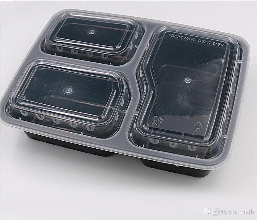 Meal Prep Containers Microwave Food Storage Portion Control Disposable Containers+ Lids Bento Box Lunch Box Tray with Cover