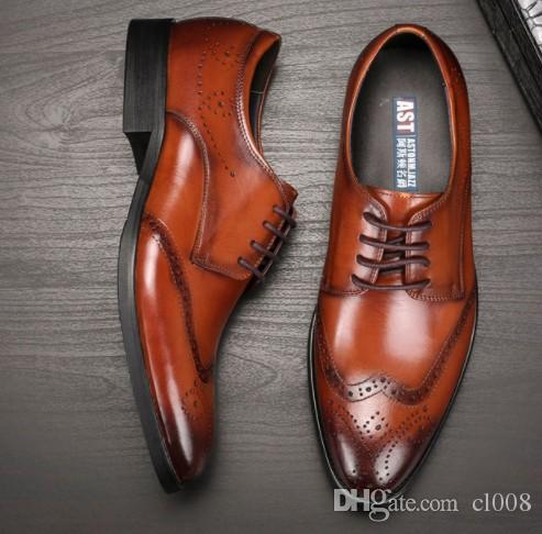 Luxury quality Men leather dress shoes breatheable holes waxed cow leather Brock Carved Europian fashion Trying best to Gurantee top quality