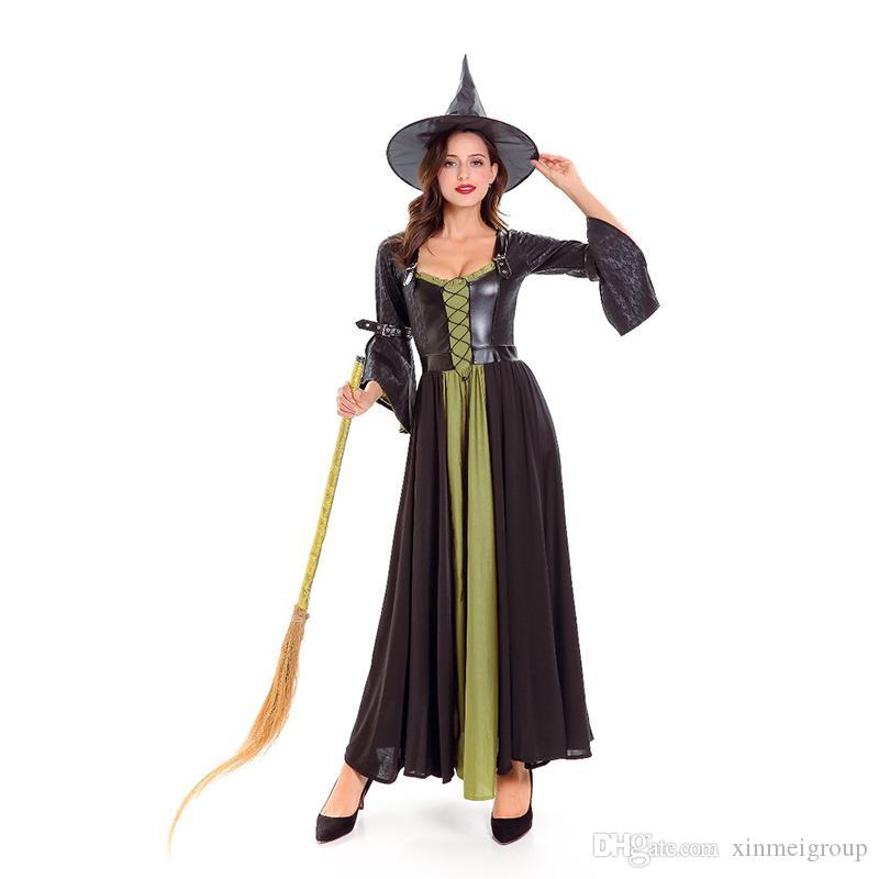 3c80a25184 US $23.35-28.56/Piece. Halloween Hexe Kostüm für Erwachsene für Frauen Grün  Schwarz Lange ...