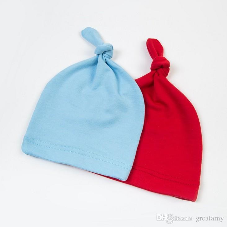 Knoten-Hut-Süßigkeit-Farben-feste Baumwollkappe für Baby-Frühlings-Sommer-Abnutzung 2017 neue Baby-Mädchen-neugeborenes Kleinkind-Säuglings-Kinderhüte
