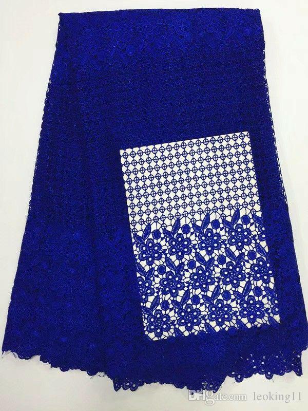 5 verges / PC vente chaude bleu royal broderie africaine dentelle soluble dans l'eau et la fleur tissu de dentelle Gippy pour tétine BW129-2