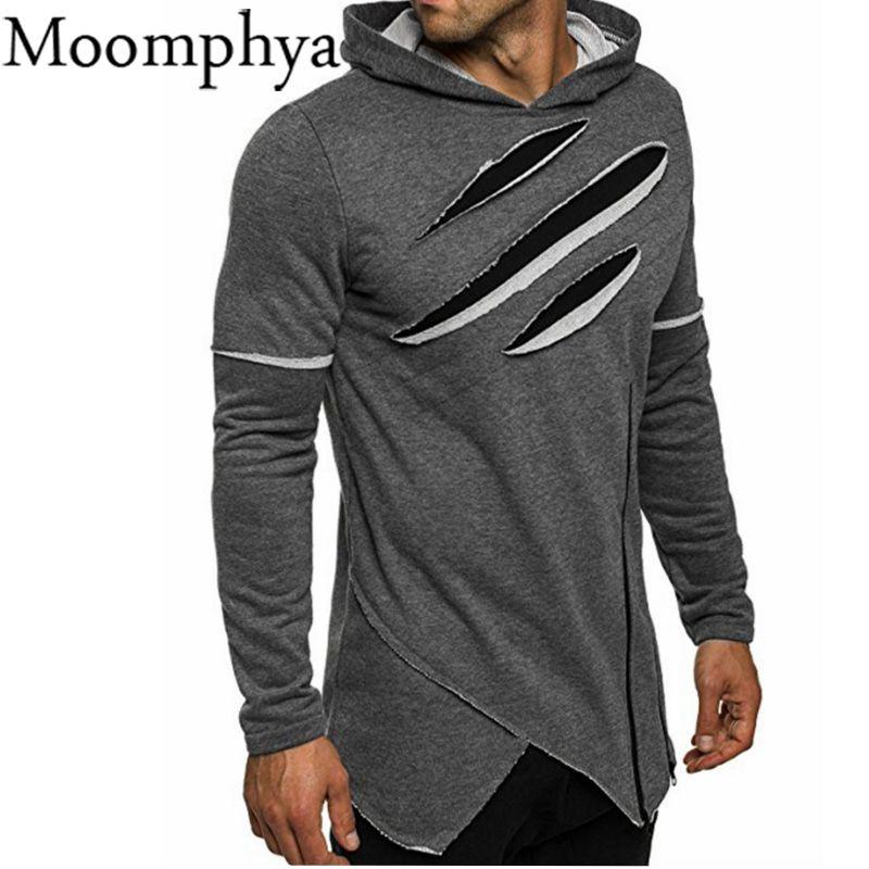 Moomphya 2017 hombres otoño invierno ripped curva dobladillo sudaderas con capucha  irregular sudaderas con capucha hombres moda hip hop desgaste de la calle  ... 46c0b1aad03
