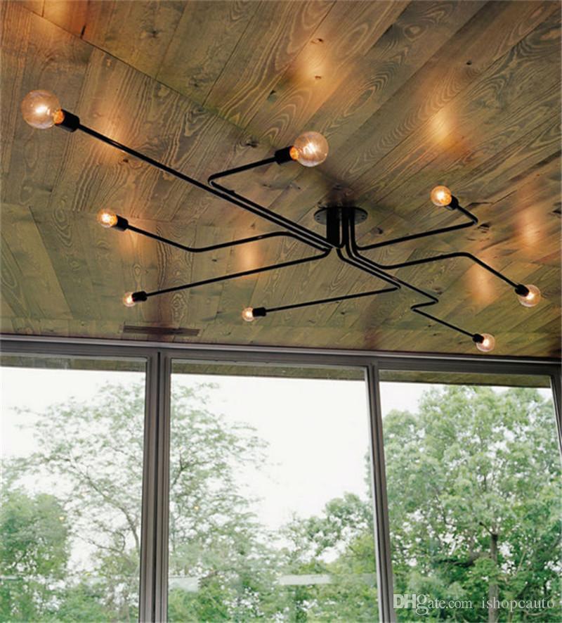 4/6/8 Başkanları Vintage Kolye Ev Işıklandırma için Çoklu Çubuk Ferforje Tavan Lambası E27 Ampul Salon LAMPARAS Işıklar