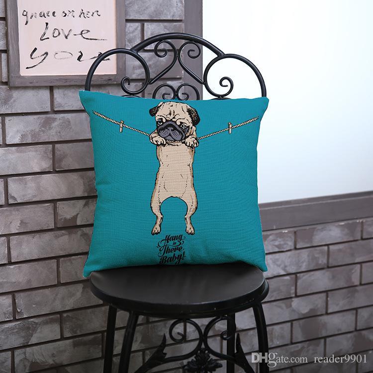 2017 yeni Güzel yavru Karikatür sevimli Pug baskılı yastık kapak Ev Kanepe keten pamuk kadife yastık kılıfı 45 * 45 cm