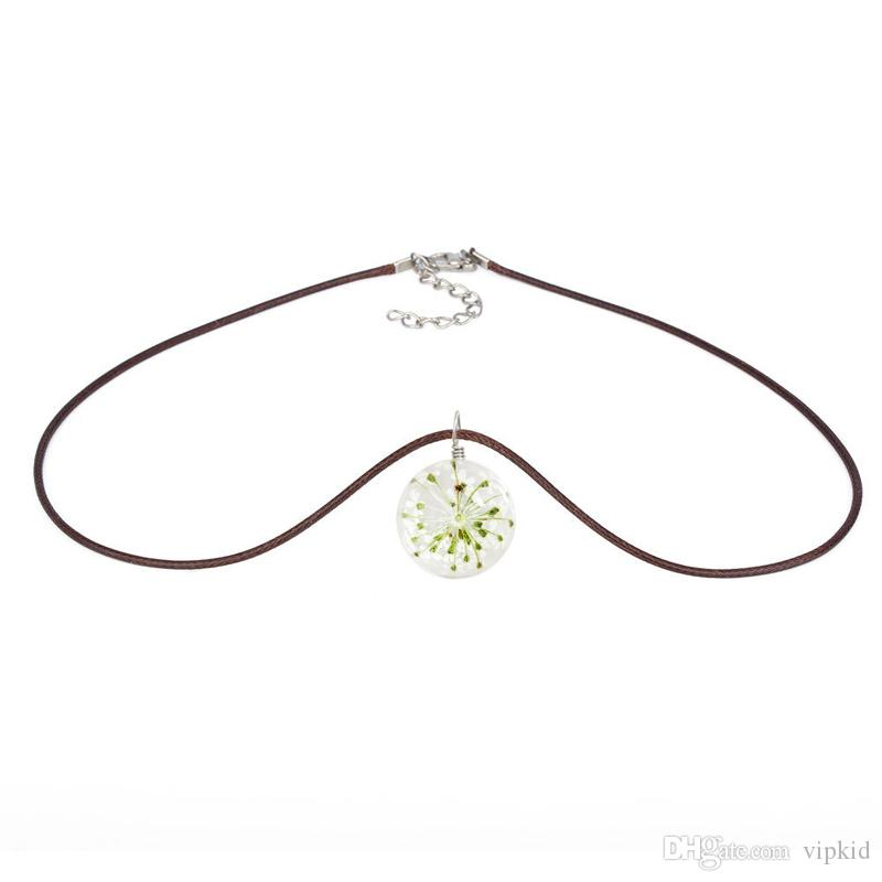 Lace Flower Necklace Glass ball time gemstone pendant rope chain 20 MM