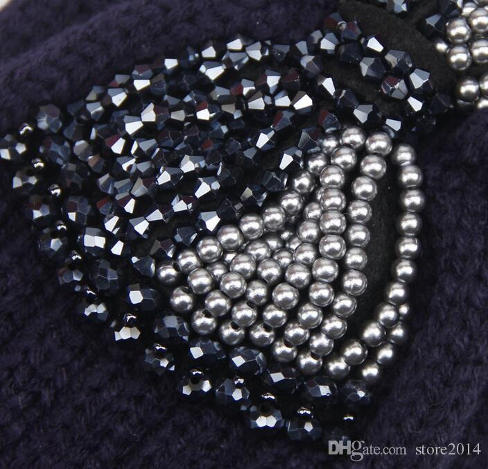 Nuove donne gioielli moda perline bowknot Sparkle lavorato a maglia fasce knit headwrap cappelli delle signore scaldini dell'orecchio caldo i