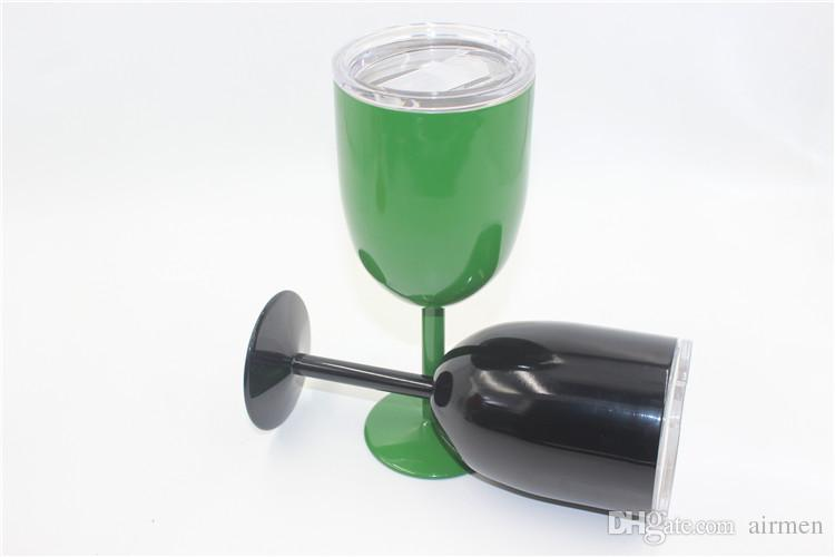 Cups Party Stainless Colored Tumber 10oz Wine Glass Double Wall Insulated Metal Goblet With Lid Tumbler Wine Mugs