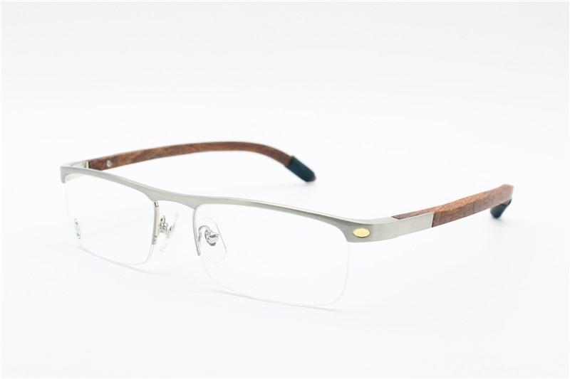 النظارات إطار الساقين الخشب الطبيعي النقي نصف إطار نظارات إطار بصري استعادة طرق القديمة oculos دي غراو الرجال النظارات إطارات ca4581369