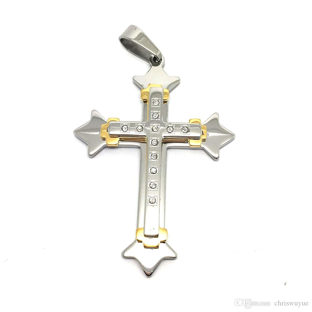 High Quality Men's Jewelry Silver and Gold Stainless Steel Big Stone Cross Pendant Necklace Chain NP09