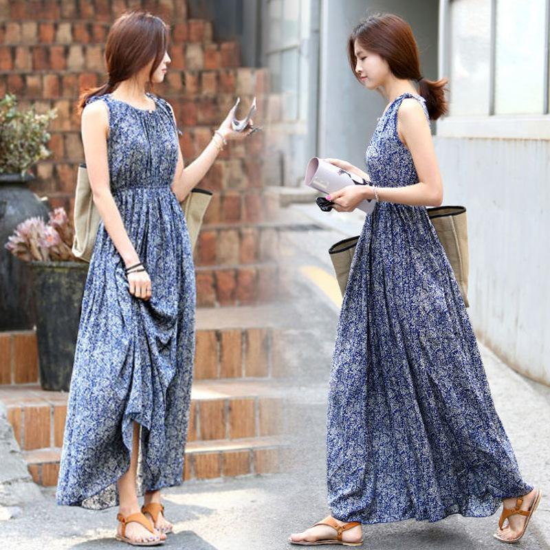 d1b7c34d92f Beach Maxi Dresses Summer Print Bohemian Style Off Shoulder Long Dresses  Women Casual Sleeveless Blue Pleated Dress Halter Dress Blue Dresses From  ...