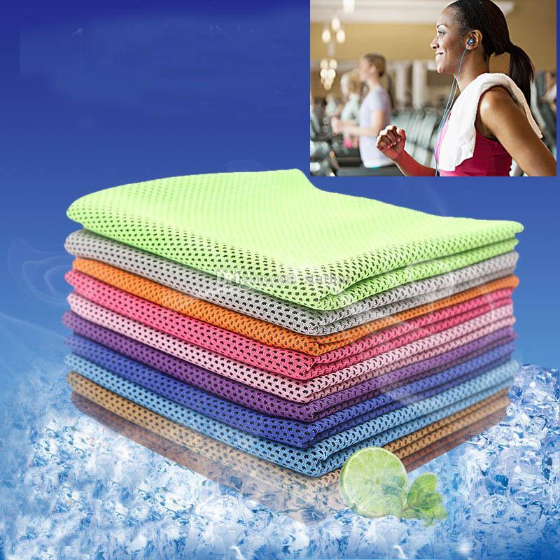 Asciugamano freddo magico Esercizio Fitness Sweat Estate Asciugamano ghiaccio Sport all'aria aperta Ghiaccio fresco Asciugamano Hypothermia Raffreddamento Borsa Opp Pack 90 * 30cm WX-T07