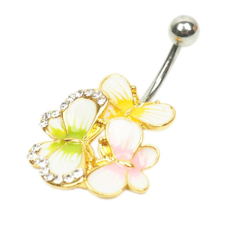 fashion vision butterfly Crystal Stainless Steel Lip Body Piercing Rings Stud Piercing Tragus Body Jewelry Unisex HBOD00005