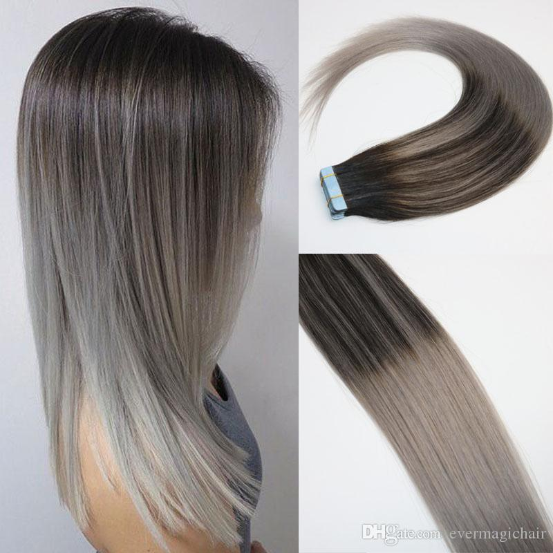 Balayage Ombre Color 2 Brown Fading To Grey Brazilian Remy Hair Glue Skin Weft Pu Tape Hair Extensions 16 18 20 22 24inch Human Hair Weave Uk Hair