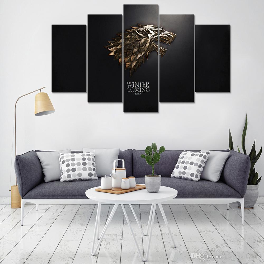 2018 Home Decor Painting Canvas Art Wall Picture 5 Panel Game Of Thrones Winter Is Coming For