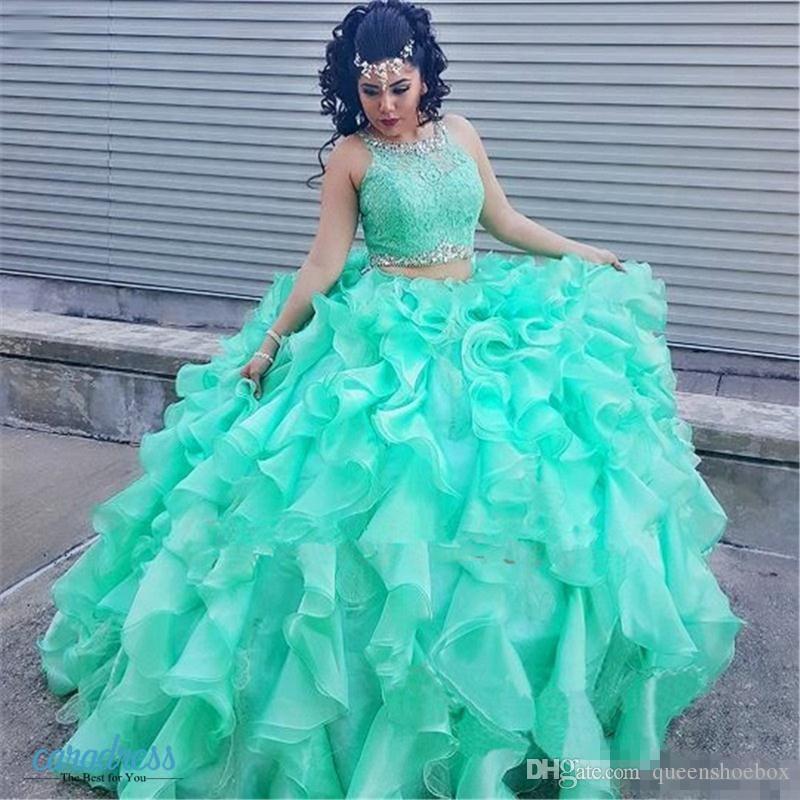 2017 Mint Lace Quinceanera Evening Dresses Ball Gown Princess Puffy Ruffle Masquerade Sweet 16 Dress Prom Girls vestidos de 15 anos