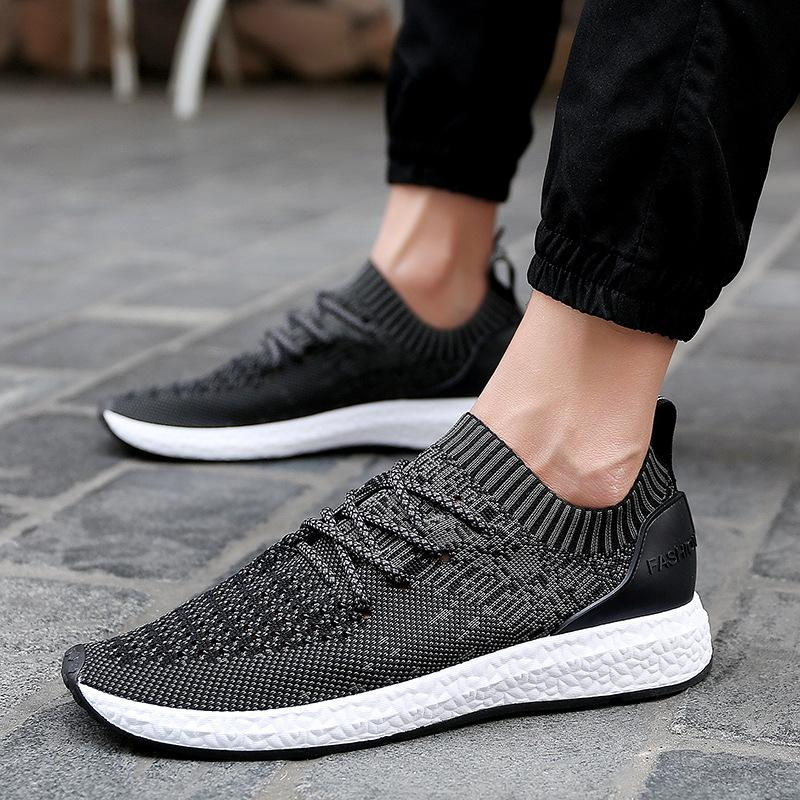 2017 New Korean Fashion Shoes Knitted Fabric Black ...