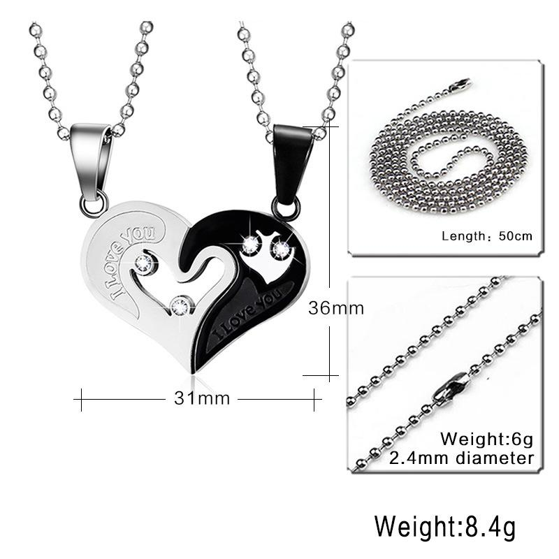 Slide Crystal Necklace For Women Men Fashion Lovers Necklaces & Pendants Stainless Steel Heart Shape Pendant For Couple CN-022
