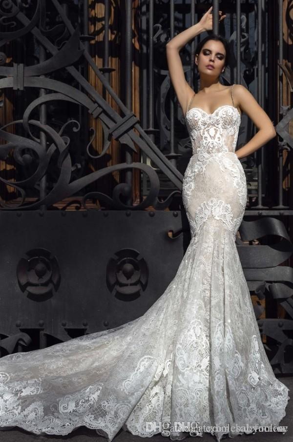 2017 Kristall Design Mermaid Brautkleider Schatz Einbau Spitze Appliques Robe De Soiree Arabisch Sexy Brautkleider mit Gericht Zug BA5435