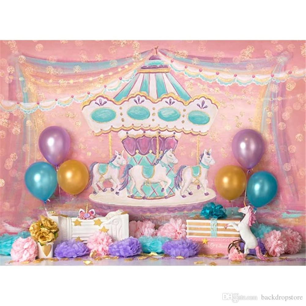 Colorful Balloons Cartoon Carousel Photography Backdrops Pink Gold ...