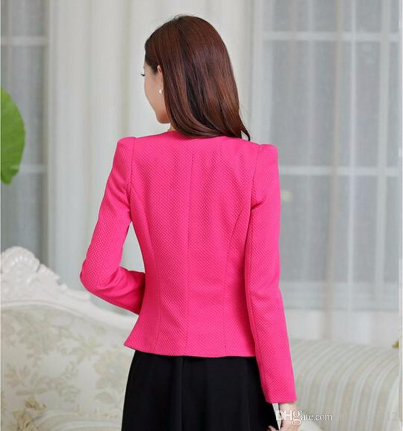 Spring Women Slim Blazer Coat New Fashion Casual Jacket Long Sleeve One Button Suit Ladies Blazers Work Business Suits