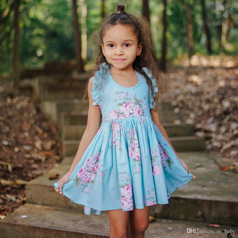 Baby Girls Summer Backless Dress Beach Style Floral Print Party Dresses Kids Girl Vintage Clothing for 1-7T