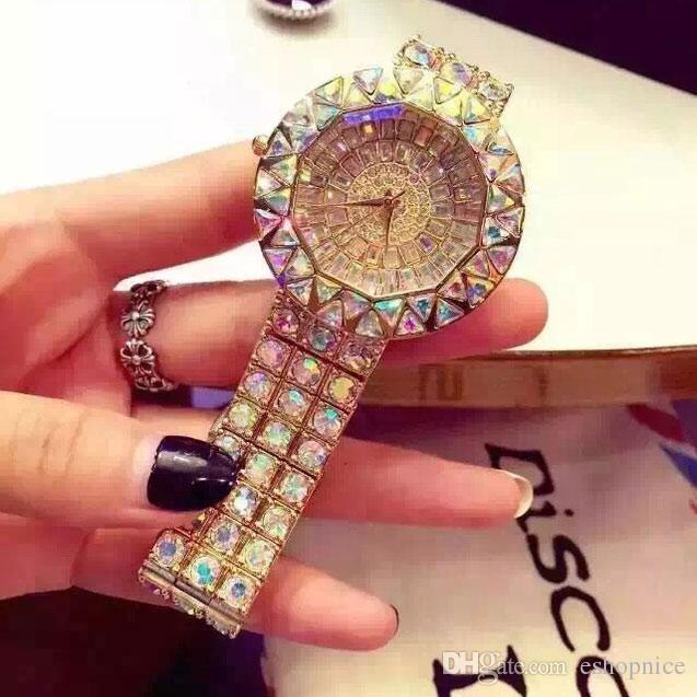 orologi Abito di lusso le donne di modo delle signore della vigilanza del diamante degli orologi del quarzo orologio resistente all'acqua Montre Femme di trasporto