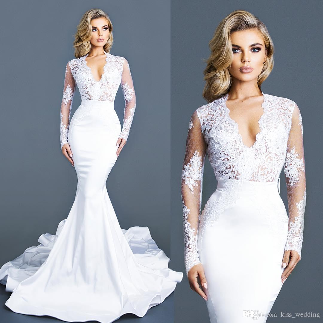 White Modest Wedding Dresses Sleeves Lace Deep V Neck Bridal Gown ...