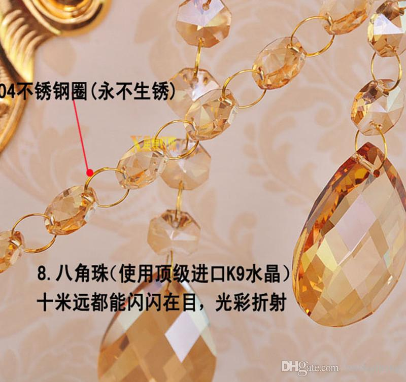3 luzes de led em casa de ouro champanhe luz de parede de cristal de jantar grande lâmpada de parede de metal arandela quarto banheiro retro led espelho lâmpada