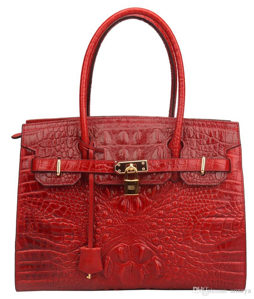 Ainifeel Women S Crocodile Embossed Leather Handbags And Purses Business  Handbags Office Purse Top Handle Handbag Branded Handbags Designer Handbags  Sale ... e9abdc7a74a90