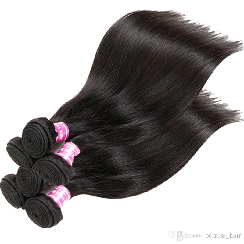 Günstige Remy Echthaarverlängerungen Natürliche Farbe Peruanische Indische Malaysische Mongolische Kambodschanische Brasilianische Reine Gerade Haarwebart Bundles