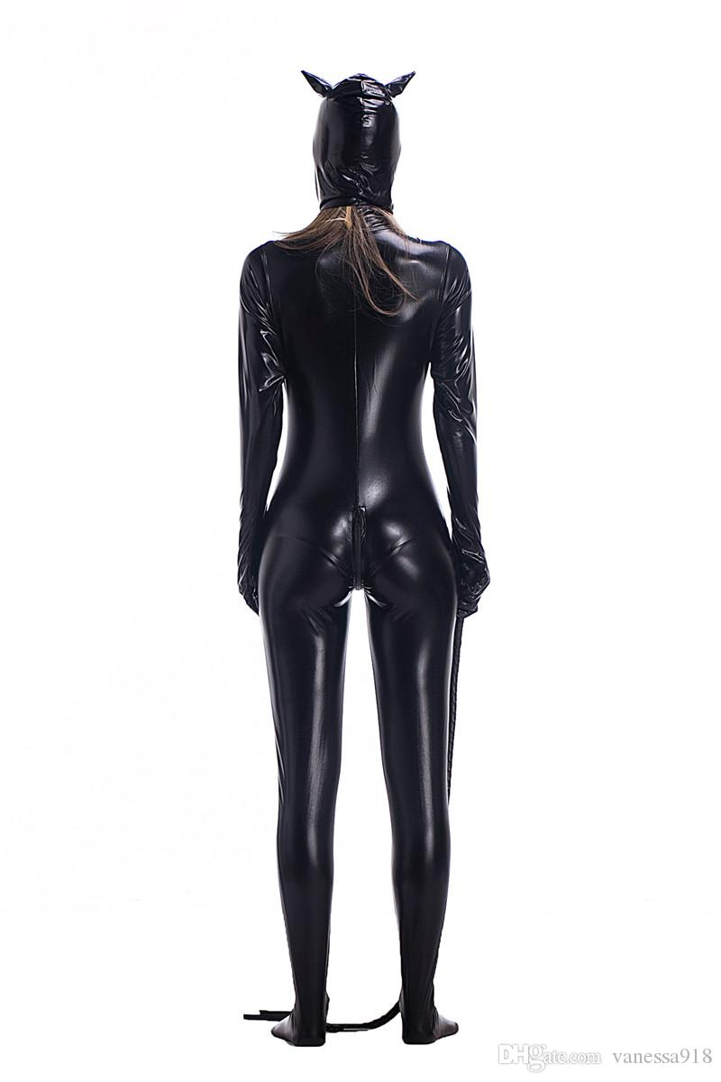 Venda Hot Sexy Costume do falso couro preto Sexy Catwoman Latex Catsuit Cat Erótico Halloween Costume Cosplay Masquerade PS012 Wear Suit