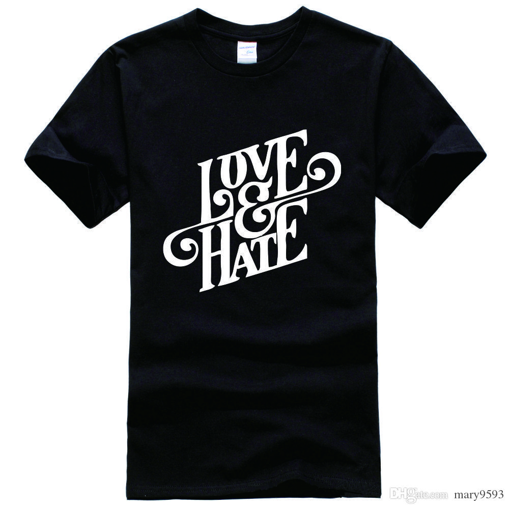 Love & Hate Graphic Print Swag Religion Cross Printed Tee Shirt ...