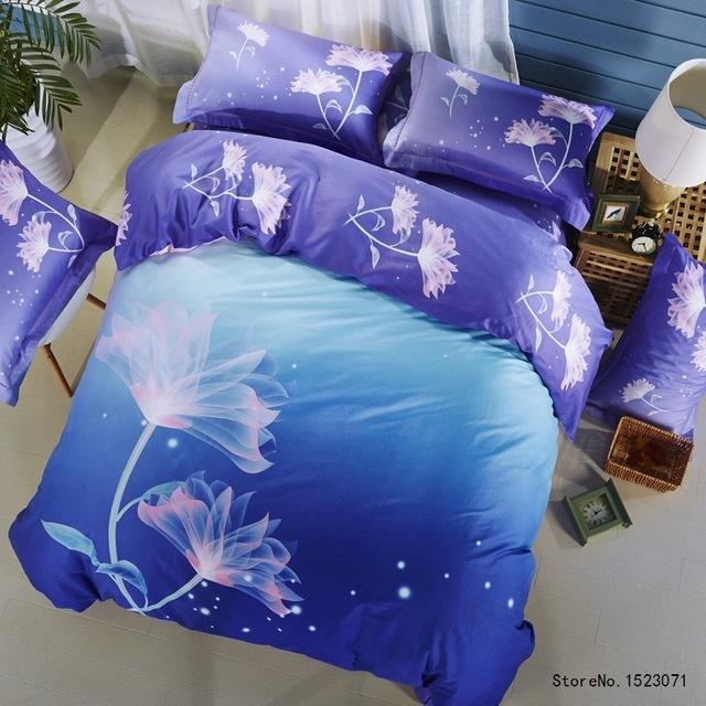 tutubird sparkle blue galaxy flower silk feeling bedding sets soft satin cotton fiber bohemian duvet cover bedlinens bedclothes king bedspread sets full