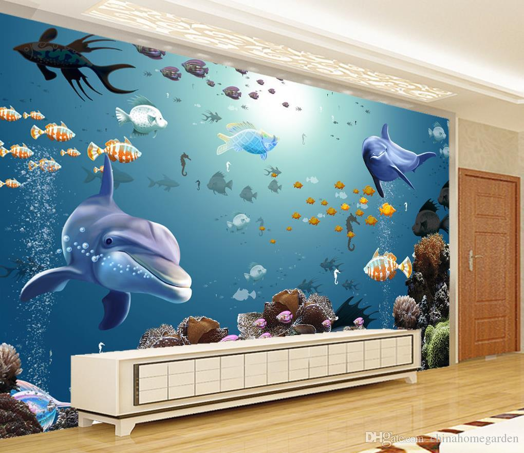 3d stereo underwater world aquarium tropical fish tv wall for Aquarium mural