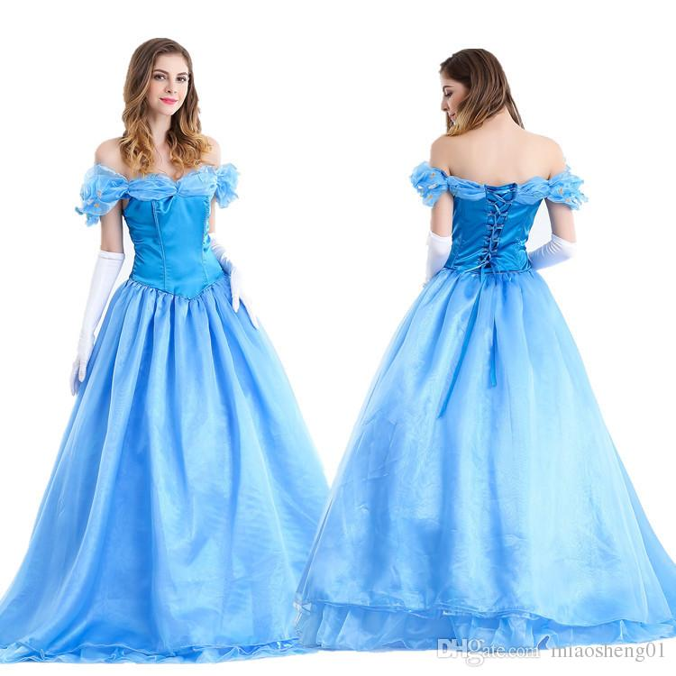 Vêtements de performance de scène robe bleue Costume de cosplay Halloween Cendrillon jouer rôle Snow White