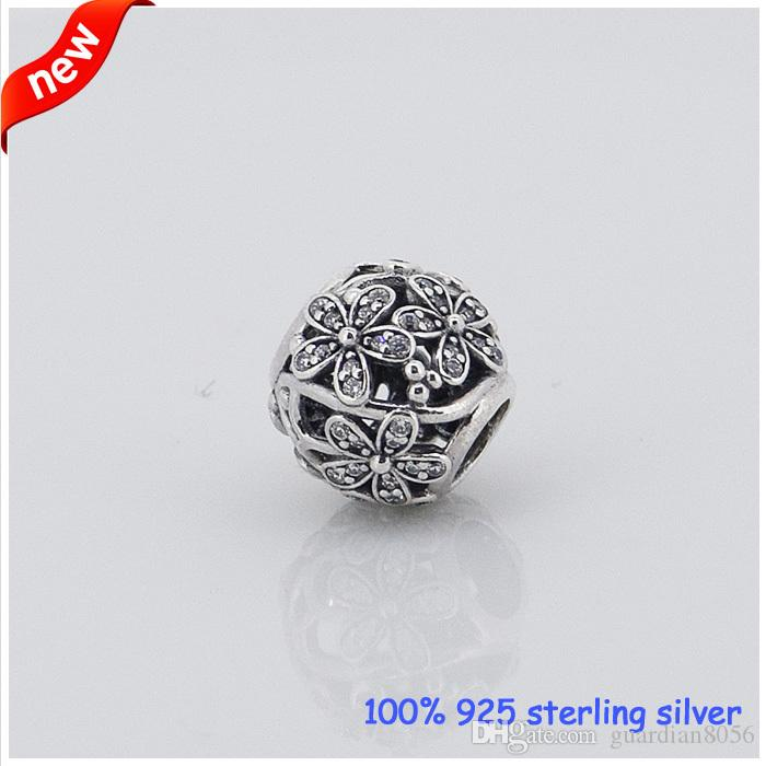 Fits Pandora Bracelets Daisy Silver Beads with Cubic Zirconia New Original 100% 925 Sterling Silver Charm DIY Jewelry Wholesale