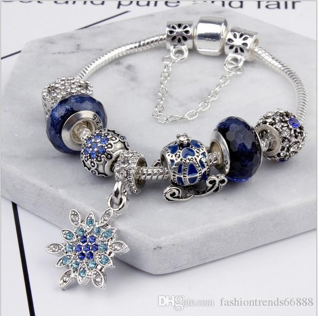 0ee13835097 Acheter Pandora Style 2017 Classique Étoile De Lune Éblouissante Perle  Bleue Bague Amitié Bracelets Avec Charmes Chaîne De Serpent DIY Charme  Flocon De ...