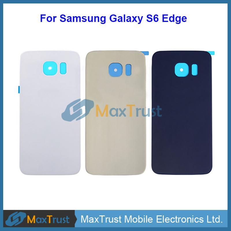 Qualidade superior para Samsung Galaxy S6 Edge G925 G9250 G925F Capa de bateria traseira Dora da caixa com adesivo 3 cor