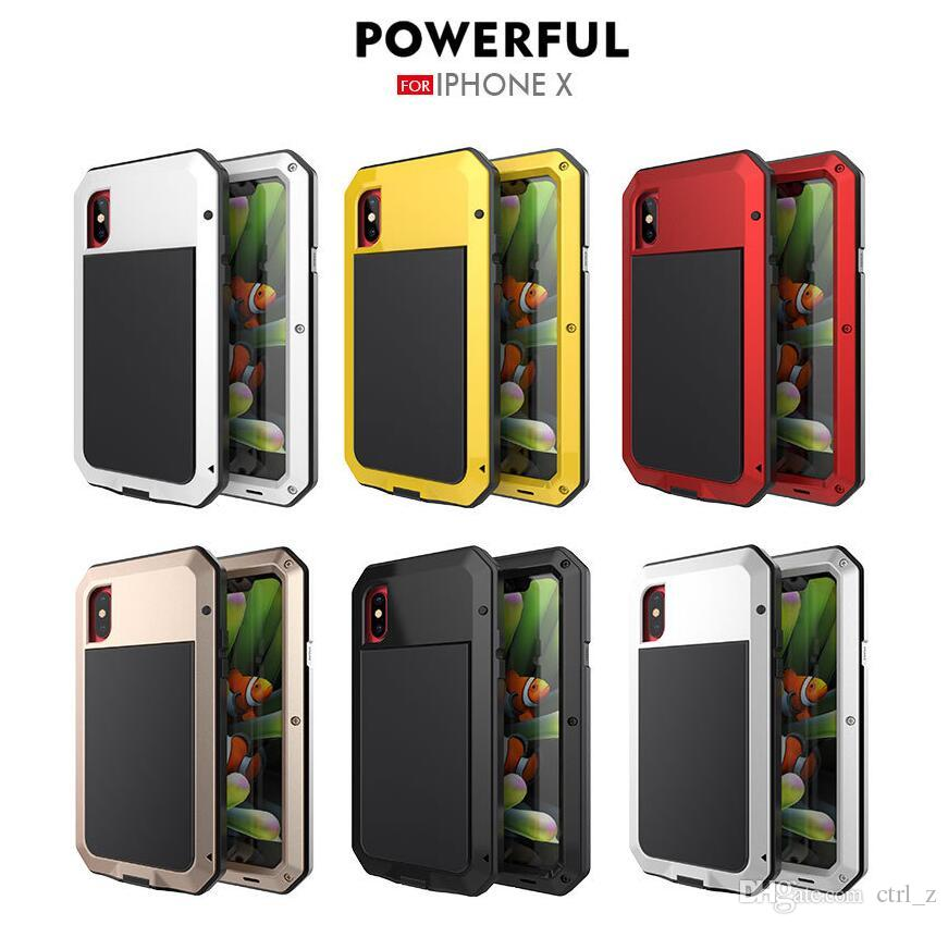 For iphone X 7 8 plus case Powerful Shockproof Aluminum Metal Back Cover waterproof Protective Case for iphone 10 with tempered glass