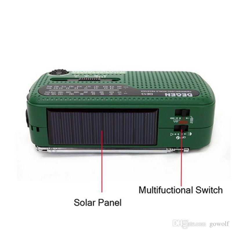New Arrival LED Flashlights 3 in 1 Emergency Charger Generator Wind Solar Hand Crank Dynamo Powered FM/MW/SW Radio World Receiver