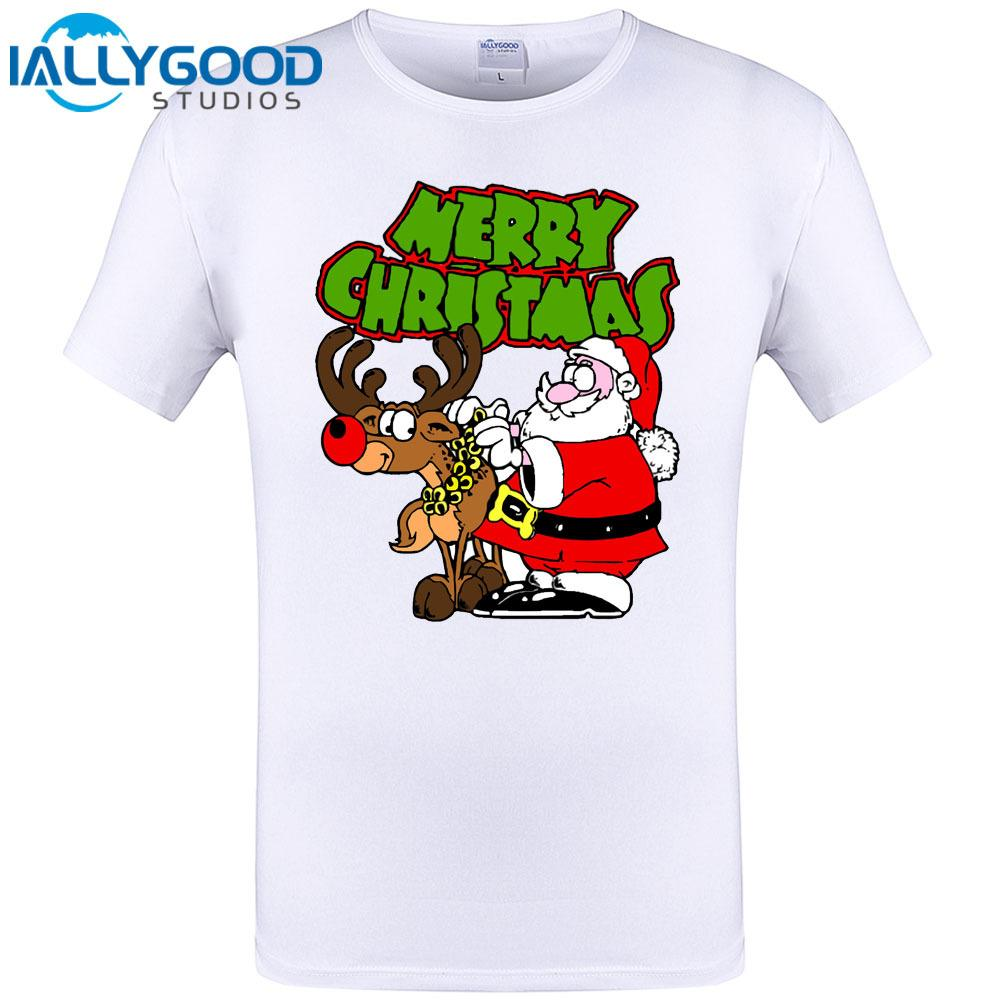 Santa And Reindeer Merry Christmas Mens Summer Cool Print T Shirt ...
