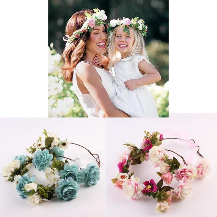 1a425a947e6 Mom And Me Flower Headband Summer Style Newborn Headband Flower Crown  Mother Kids Matching Garland Hair Band Accessories Christmas Hair  Accessories Kid Hair ...