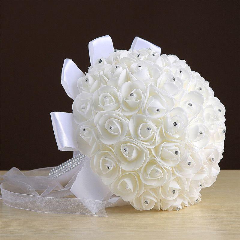 Wholesale Cream White Bouquets Handmade Flowers Rhinestones Rose Bridesmaid Bridal Artificial Holding Brooch Bouquet Silk RibbonWholesale WW