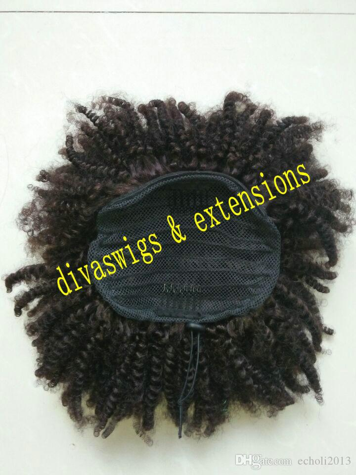 afro ponytail hairpieces 클립 in Virgin 말레이지아 머리 drawstring 포니 테일 헤어 익스텐션 kinky puff humain hair ponytails