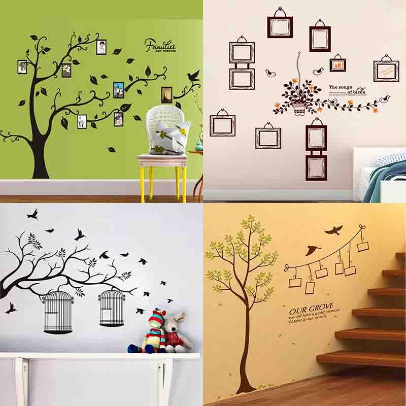 Hot Wall Stickers Decals Diy Photo Frame Tree Plant Green Leaves - Custom vinyl wall decals diy