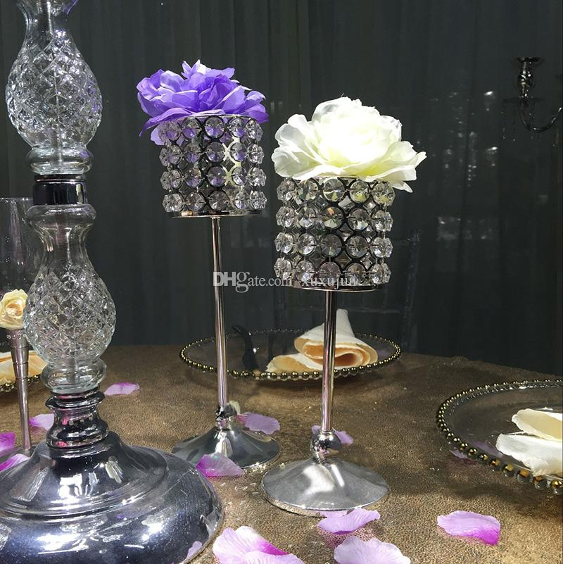 metal silver plated crystals candle holder wedding candelabra centerpiece home decoration candlestick