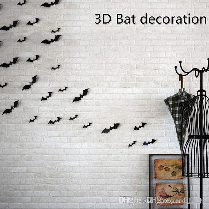 PVC decoración de Halloween accesorios DIY etiqueta de la pared murciélagos fantasma 3D etiqueta engomada de la mariposa para pared / ventana de Halloween Party Supplies b183
