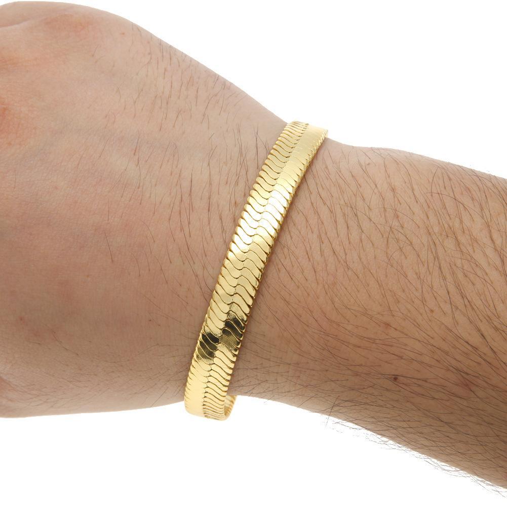 1 CM solide cuivre chaînes de serpents bracelets mens mode or rempli plat designer serpent lien bracelets pour homme de luxe Hip Hop bijoux accessoires
