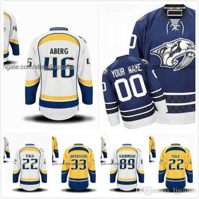 info for 63176 2bb70 Kevin Fiala Jersey 22 Pontus Aberg 46 Viktor Arvidsson 33 Frederick  Gaudreau 89 Ice Hockey Jerseys Nashville Predators Full Stitched S-3XL